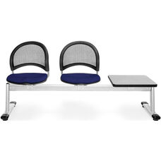 Moon 3-Beam Seating with 2 Navy Fabric Seats and 1 Table - Gray Nebula Finish
