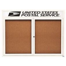 2 Door Indoor Illuminated Enclosed Bulletin Board with Header and White Powder Coated Aluminum Frame - 36