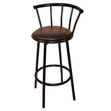 38.5''H Powder Coated Steel Black Swivel Bar Stool with Footring and Padded Vinyl Seat