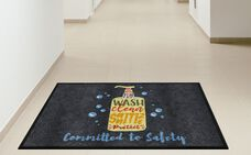 """""""Committed to Safety"""" Message Floor Mat - 35'W x 59""""D"""