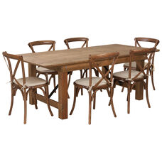 HERCULES Series 7' x 40'' Antique Rustic Folding Farm Table Set with 6 Cross Back Chairs and Cushions