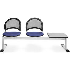 Moon 3-Beam Seating with 2 Colonial Blue Fabric Seats and 1 Table - Gray Nebula Finish