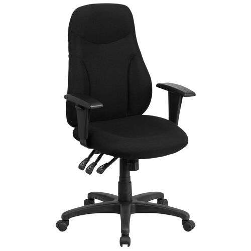 Our High Back Black Fabric Multifunction Swivel Ergonomic Task Office Chair with Adjustable Arms is on sale now.