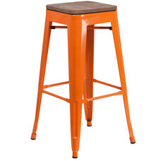 "30"" High Backless Orange Metal Barstool with Square Wood Seat"