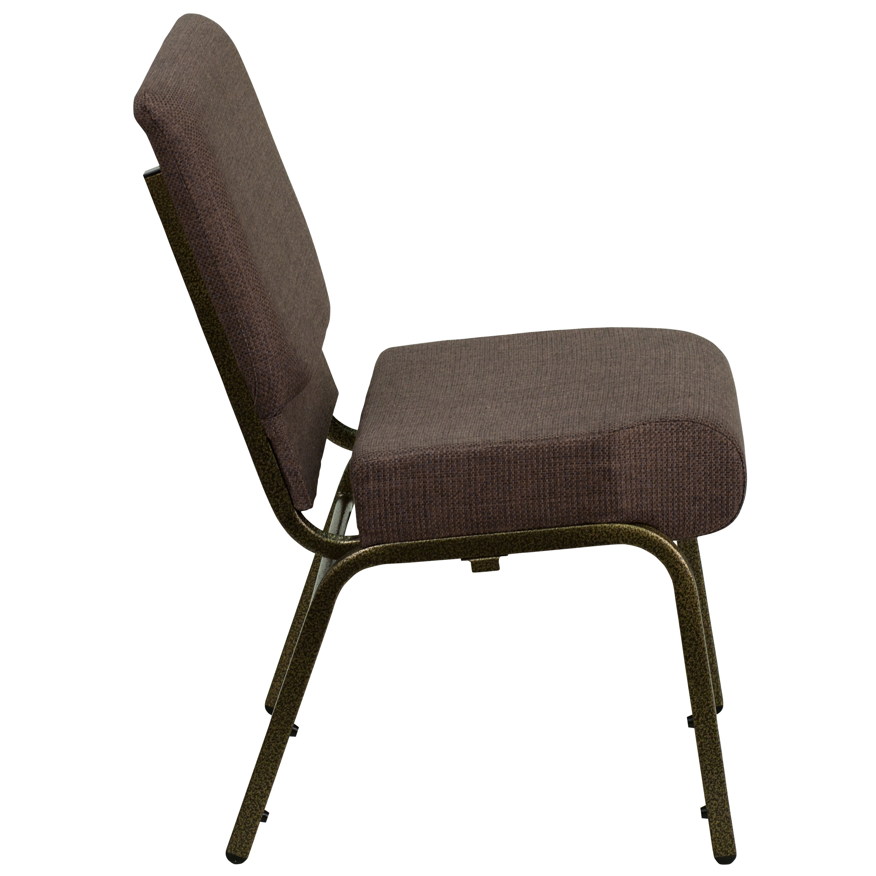 ... Our HERCULES Series 21u0027u0027W Stacking Church Chair In Brown Fabric   Gold  Vein ...