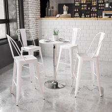 23.75'' Round Adjustable Height White Wood Table (Adjustable Range 26.25'' - 35.75'')
