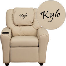 Personalized Beige Vinyl Kids Recliner with Cup Holder and Headrest
