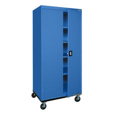 Transport Series 36'' W x 24'' D x 78'' H Mobile Storage with Four Adjustable Shelves - Blue