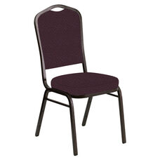 Embroidered Crown Back Banquet Chair in Venus Aubergine Fabric - Gold Vein Frame