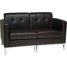 Ave Six Wall Street Faux Leather Modular Loveseat with Chrome Finish Base - Espresso