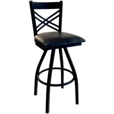 Akrin Metal Cross Back Swivel Barstool - Black Vinyl Seat