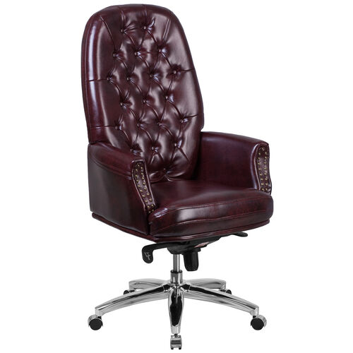 Our High Back Traditional Tufted Burgundy Leather Multifunction Executive Swivel Ergonomic Office Chair with Arms is on sale now.