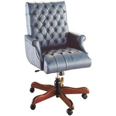Quick Ship Scoop Traditional Executive Swivel Chair with Fully Upholstered Arms