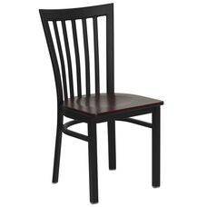 Black School House Back Metal Restaurant Chair with Mahogany Wood Seat