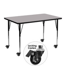 Mobile 24''W x 48''L Rectangular Thermal Laminate Activity Table - Standard Height Adjustable Legs