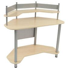 Compact Corner Computer Study Desk - Silver and Maple