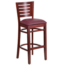 Mahogany Finished Slat Back Wooden Restaurant Barstool with Burgundy Vinyl Seat
