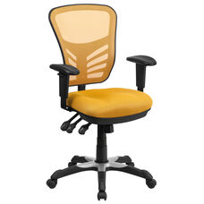 Mid-Back Yellow-Orange Mesh Multifunction Executive Swivel Chair with Adjustable Arms