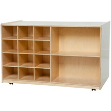 Wooden Double Sided Storage Unit with 5 Shelves and 12 Purple Plastic Trays - 48