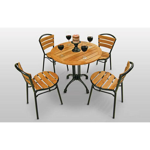 Round Teak Outdoor Table with Black Base