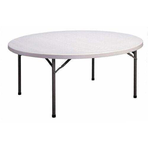 Economy Blow-Molded Round Plastic Top Folding Table - 71