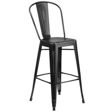 30'' High Distressed Metal Indoor-Outdoor Barstool with Back