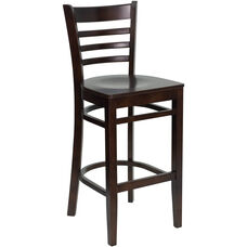 Walnut Finished Ladder Back Wooden Restaurant Barstool