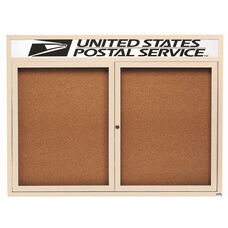 2 Door Indoor Enclosed Bulletin Board with Header and Ivory Powder Coated Aluminum Frame - 36