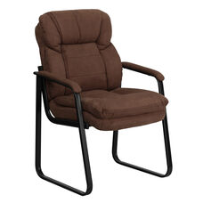 Brown Microfiber Executive Side Reception Chair with Sled Base