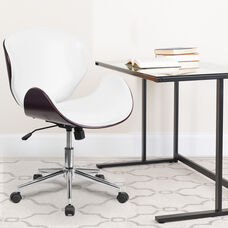 Mid-Back Mahogany Wood Conference Office Chair in White LeatherSoft