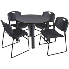 Kee 36'' Round Laminate Breakroom Table with 4 Zeng Stack Chairs - Gray Table Finish with Black Legs and Black Chairs