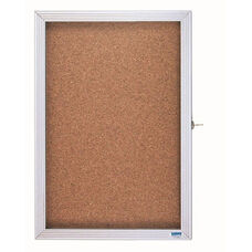 1 Door Enclosed Bulletin Board with Aluminum Over Lapping Hinged Door - 36