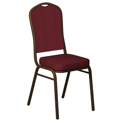 Our Embroidered Crown Back Banquet Chair in Praise Currant Fabric - Gold Vein Frame is on sale now.