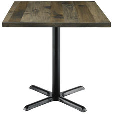 Urban Loft Collection 30'' Square Vintage Wood Top with Black Counter Height Table Base - Barnwood