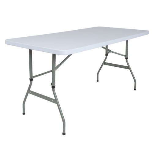 Our 4.93-Foot Height Adjustable Granite White Plastic Folding Table is on sale now.