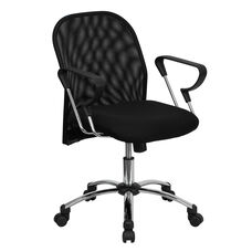 Mid-Back Black Mesh Swivel Task Office Chair with Extended Back and Stylish Arms