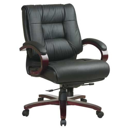 Pro-Line II Mid-Back Executive Leather Chair with Mahogany Base and Padded Arms - Black