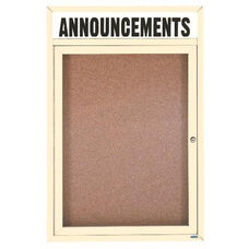1 Door Indoor Enclosed Bulletin Board with Header and Ivory Powder Coated Aluminum Frame - 24