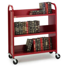 Single Sided Duro Book Truck with Slanted Shelves - 36''W x 14''D x 43''H