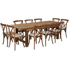 HERCULES Series 8' x 40'' Antique Rustic Folding Farm Table Set with 10 Cross Back Chairs and Cushions