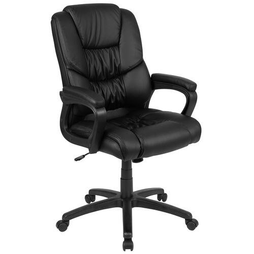 Our Basics Big & Tall 400 lb. Rated LeatherSoft Swivel Office Chair with Padded Arms, Black, BIFMA Certified is on sale now.