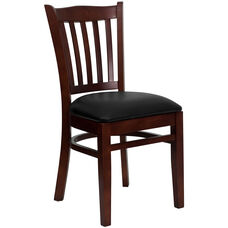 Mahogany Finished Vertical Slat Back Wooden Restaurant Chair with Black Vinyl Seat