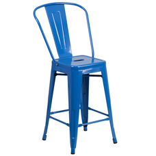 "Commercial Grade 24"" High Blue Metal Indoor-Outdoor Counter Height Stool with Back"