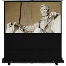 White and Black Portable Height Adjustable Floor Rising Projection Screen with Matte White Fabric Screen and Black Aluminum Casing - 87