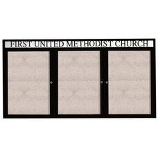 3 Door Outdoor Illuminated Enclosed Bulletin Board with Header and Black Powder Coated Aluminum Frame - 48