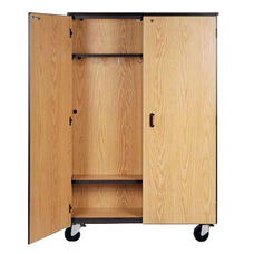 Mobile Coat Storage w/13 Double Hooks and 1 Adjustable Shelf