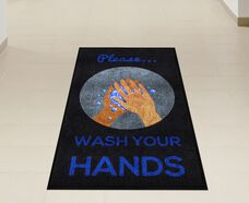 """Please Wash Your Hands"" Message Floor Mat - 59""W x 35""D"