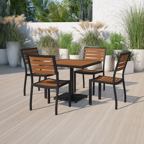 Outdoor Patio Bistro Dining Table Set with 4 Chairs and Faux Teak Poly Slats