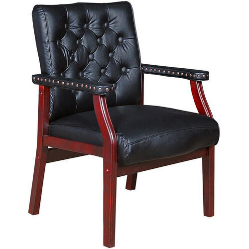 Our Ivy League Tufted Back Traditional Guest Chair - Black Vinyl is on sale now.