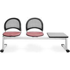 Moon 3-Beam Seating with 2 Coral Pink Fabric Seats and 1 Table - Gray Nebula Finish